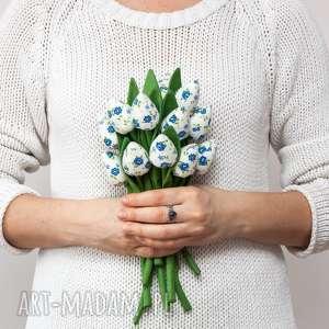 dekoracje tulipany z materiału bukiet tulipanów szafirowe 12 sztuk mini