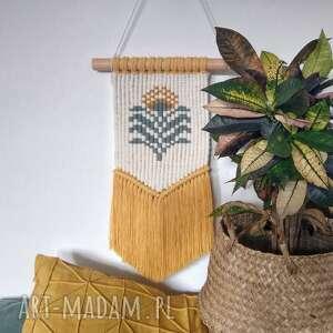 wyjątkowy prezent, makrama sunflower, makrama, makatka, boho, dekoracje scienne