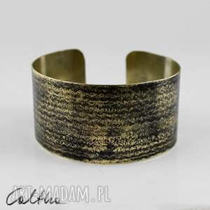 prążki - mosiężna bransoletka, bransoleta, szeroka, mosiężna, złota