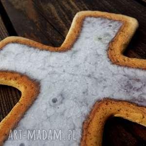 krzyżyk na ścianę ceramika i szkło 7, krzyż, krzyżyk, ceramiczny, glina