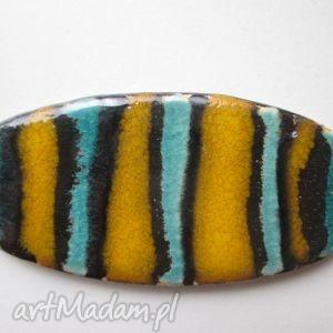 pasiasta broszka 2, ceramiczna, kolorowa