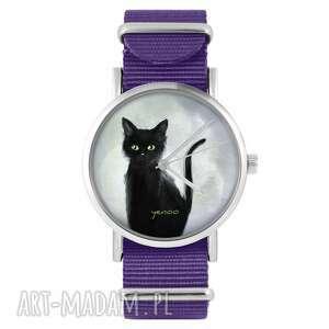 handmade zegarki zegarek - czarny kot fioletowy, nylonowy