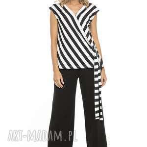 spodnie o rozszerzającej się nogawce, t258, czarny, spodnie, szeroka