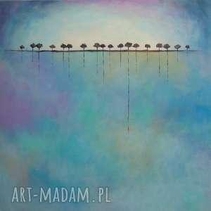 Obraz na płótnie - DRZEWA 40/40 cm, abstrakcja, niebieski, obraz, drzewa, fiolet