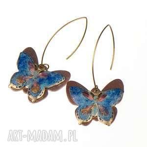 Prezent Kolczyki miedziane z niebieskimi motylami c241, kolczyki-z-motylami