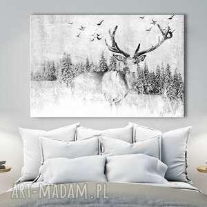 obraz drukowany na płótnie - zimowy pejzaż z jeleniem 02506