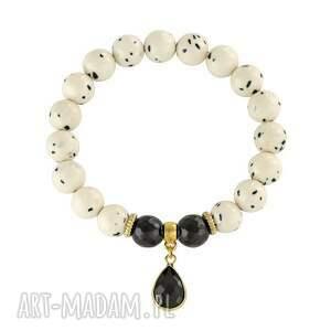 bransoletki jade with spots crystal pendant , jadeit, onyks, kropla biżuteria