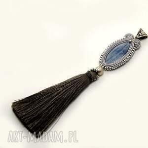wisiorek sutasz z kyanitem, soutache, sznurek, elegancki, komplet, duży, koraliki