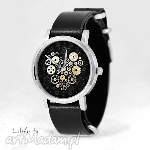 handmade zegarki zegarek, bransoletka - serce steampunk, czarne - czarny, skórzany, nato