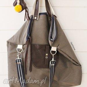 Torba ze skórzanymi dodatkami, torb, torebka, damska, duża, bawełniana, zamek