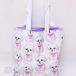 torba na zakupy shopperka ekologiczna zakupowa ramię bawełniana pieski