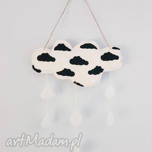 deszczowa chmurka czarno biała - deszczowa, chmurka, kropelki, skandynawski, styl