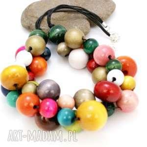 naszyjnik kolorowy drewniany mix - naszyjnik, korale, kolorowy, drewniany, kulki