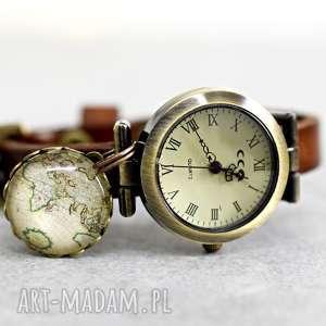 Zegarek globtroter skóra, glob, świat, wycieczka, brąz, zawieszka