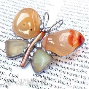 ręcznie wykonane broszki broszko-wisior: motyl brązowo-seledynowy