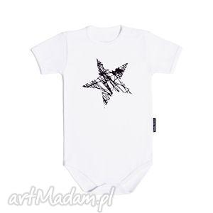 handmade ubranka białe body dla dzieci i niemowląt z krótkim rękawem - gwiazda
