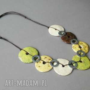 limonkowo-cytrynowe koła w metalicznej oprawie - naszyjnik, biżuteria, prezent