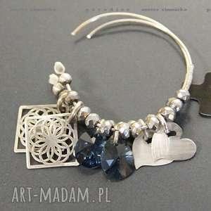srebro, kolczyki swarovski blue w srebrze - koła, zawieszki, srebro, kolczyki