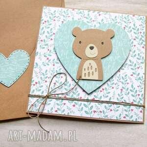 hand-made kartki miś jacuś - kartka na roczek, narodziny