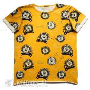 t-shirt lwy, t shirt, koszulka, print, bawełna, wakacyjna, musztarda
