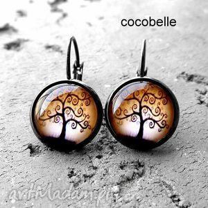 drzewo szczęścia- kolczyki z biglami, drzewka, szczęścia, brązowe, delikatne, amulety