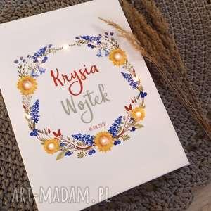 świecący obraz led wianek prezent ślub rocznica personalizowany, obraz