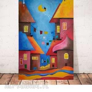 bajkowe miasteczko -obraz akrylowy formatu 50/80cm, domki, akryl, koty, bajka
