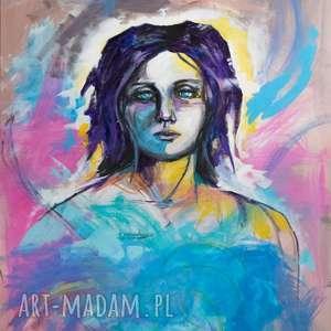 akryl na płótnie anioł obraz 100x80cm artystki plastyka adriany laube, anioł, portret