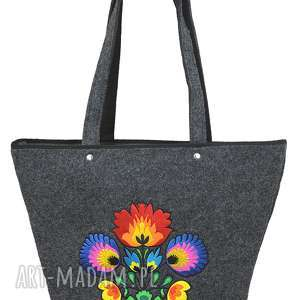 na ramię filcowa torebka - koszyk grafitowy bukiet, filcowe, torebki, haft