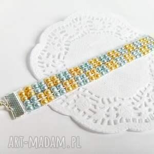 Bransoletka tkana z koralików - złoto i błękit - hand-made