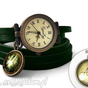 zegarek z dwustronną zawieszką las, 0119swgr6 - inicjały, personalizowany, las