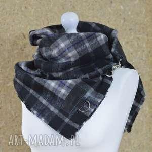ręcznie wykonane szaliki szal w kratę ze skórą, komin unisex