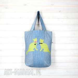 TOrba dżinsowa kot zielone koty, torebka, pojemna, mocna, kot, dżinsowa, zapinana