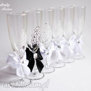 ślub zestaw dwóch ręcznie malowanych kieliszków do szampana, kieliszki, szampanówki