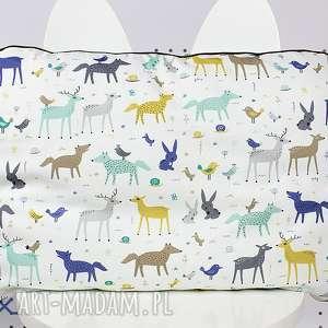Płaska Poduszka do łóżeczka Leśne Zwierzęta , poduszka, łóżeczko, pościel