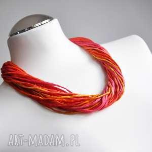 naszyjnik z jedwabiu - energetyczne kolory - kolorowynaszyjnik, czerwonynaszyjnik