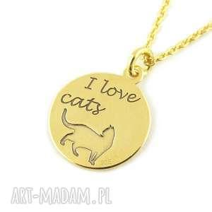 pozłacany naszyjnik kot kotek i love cats - naszyjnik, biżuteria, pozłacany