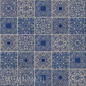ceramika kafle ciemnoniebieskie arabeski, kafle, płytki, dekory, marokańskie