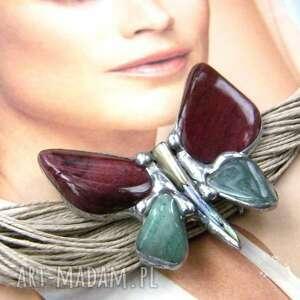 Naszyjnik: motyl z mokaitem naszyjniki witrazka motyl, sznurek