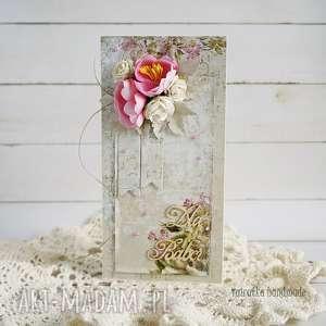 Kartka dla Babci (z pudełkiem) - ,dzieńbabci,dlababci,kartka,prezent,róże,retro,