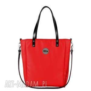 torba damska cuboid red waterproof, modna, pojemna, do pracy, elegancka