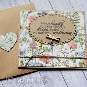 hand made kartki kartka ślubna: na łące
