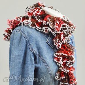fantazyjny szal - czerwień z brązem - czerwony, kobiecy, stylowy, ciepły