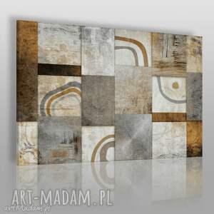 obrazy obraz na płótnie - abstrakcja mozaika brąz 120x80 cm 13902, nowoczesny