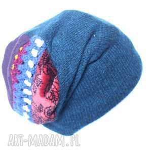 czapki czapka wełniana damska etno, wełna, czapka, boho, kolorowa, zima