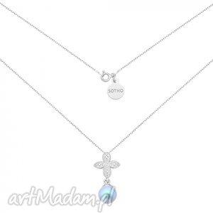 ręcznie wykonane naszyjniki srebrny naszyjnik z rozetką i niebieską perłą swarovski® crystal