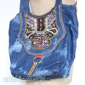 Prezent torba jeansowa haftowana etniczna, torba, jeans, haftowana, duża
