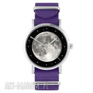 ręczne wykonanie zegarki zegarek - księżyc fioletowy, nylonowy
