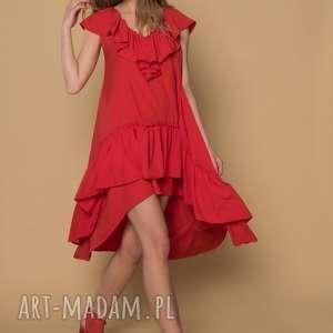 SUKIENKA koktailowa ROSE KOLOR - CZERWONY, sukienka, falbany, czerwona, rozkloszowana