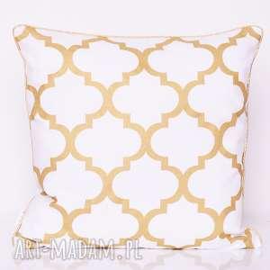 poduszka fresh gold 40x40cm od majunto, koniczyna, marokańska, złota, złota-koniczyna
